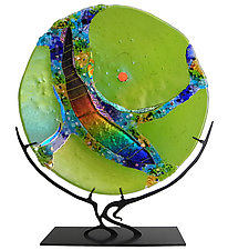 Peridot Moon by Karen Ehart (Art Glass Sculpture)