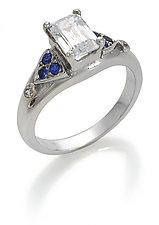Emerald-cut Engagement Setting by Diana Widman (Gold & Stone Wedding Band)