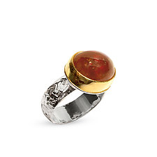 Orange Garnet Ring by Nancy Troske (Gold, Silver, & Stone Ring)