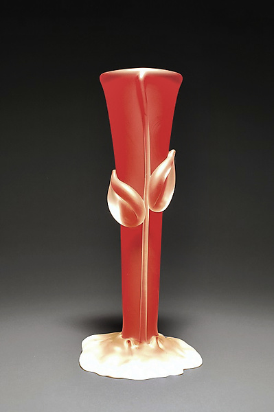 Crystal Red Bud Vase By Tommie Rush Art Glass Vessel Artful Home