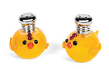 Peeps Salt and Pepper Shaker Set by Lucky Ducks Glass (Art Glass Salt & Pepper Shakers)