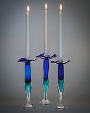 Cobalt and Teal Jewel Candlestick by Laurie Thal (Art Glass Candleholder)
