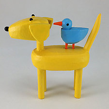 Dogs with Bird Buddies by Hilary Pfeifer (Wood Sculpture)