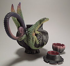 Lone Lizard Tea with Cup by Nancy Y. Adams (Ceramic Sculpture)