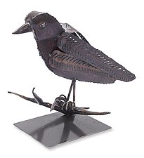 Raven on Stand by Ben Gatski and Kate Gatski (Metal Sculpture)