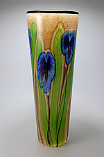 Latte Vase with Blue Pansies by Mayauel Ward (Art Glass Vase)