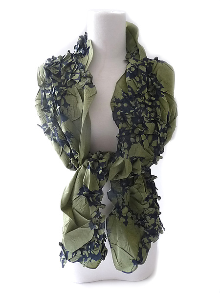 Flower Petal Print & Pleats Scarf in Sage and Navy