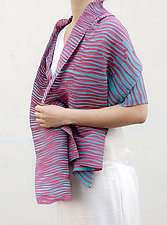 Accordion Drape Pleats Scarf in Rose & Blue by Yuh  Okano (Cotton & Polyester Scarf)