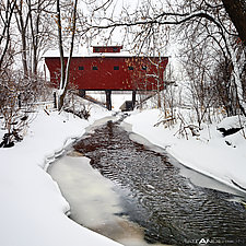 Snow Covered Wood Bridge #1 by Matt Anderson (Color Photograph)