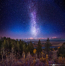 Milky Way Twilight Afterglow Over the Grand Tetons by Matt Anderson (Color Photograph)