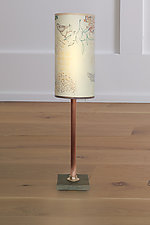 Copper Table Lamp with Small Tube Shade in Ecru Journey by Janna Ugone and Justin Thomas (Mixed-Media Table Lamp)