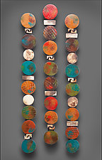 Circle Stick in Teals and Red by Rhonda Cearlock (Ceramic Wall Sculpture)