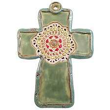 Medallion Cross by Laurie Pollpeter Eskenazi (Ceramic Wall Sculpture)