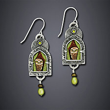 Wise Old Owl Earrings by Dawn Estrin (Silver Earrings)