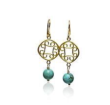 22K Gold Scroll Earrings by Nancy Troske (Gold & Stone Earrings)