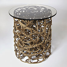 Knoop Side Table in Brown by Josh Urso (Fiber Side Table)