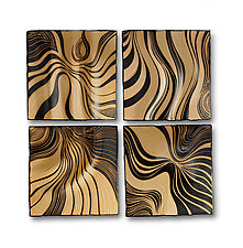 Honey Ripple Tiles by Natalie Blake (Ceramic Wall Sculpture)