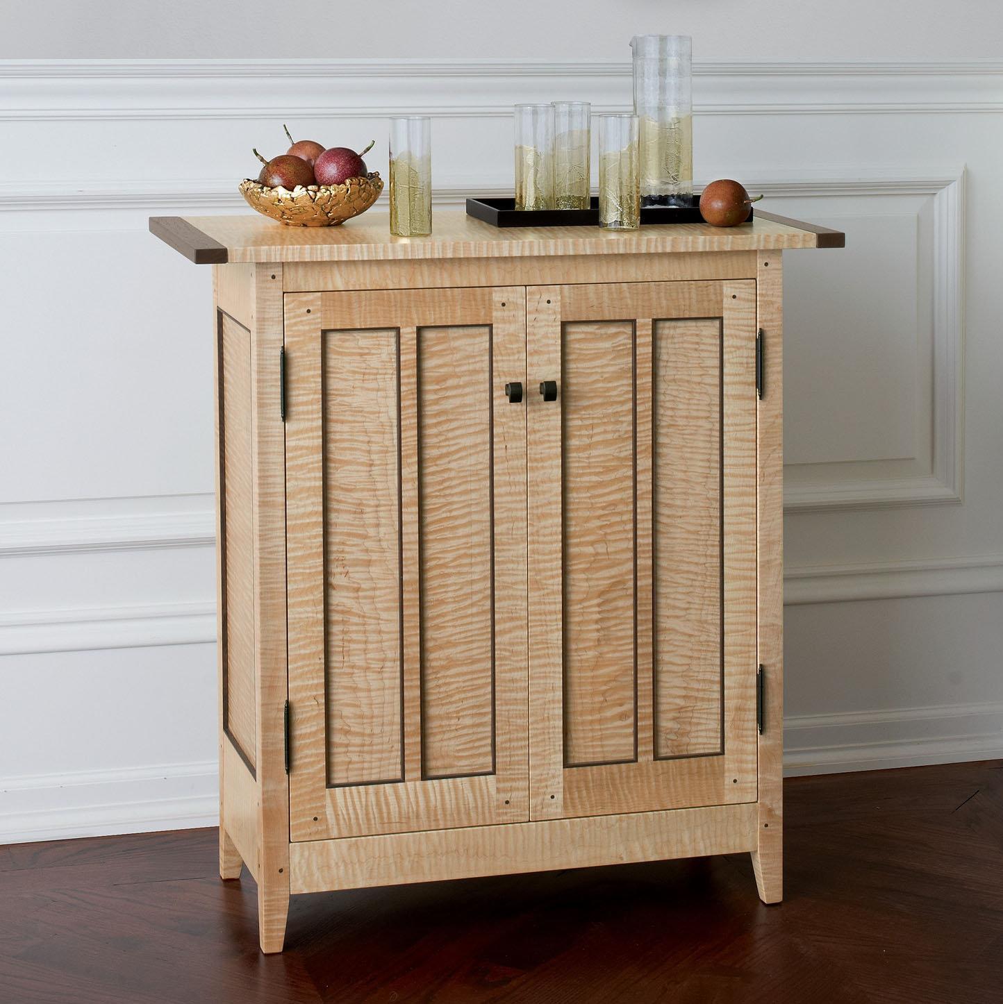 Tiger Maple Side Cabinet By Tom Dumke