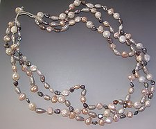 Platinum, White and Pale Peach Pearl Necklace by Diana Lovett (Beaded Necklace)