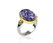 Carved Tanzanite Ring by Nancy Troske (Gold, Silver, & Stone Ring)