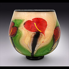 Latte Bowl with Red Anthurium by Mayauel Ward (Art Glass Bowl)