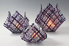 Cabernet Quilt Glass Candleholder by Ed Edwards (Art Glass Candleholder)