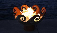 Waves O' Fire Sculptural FireBowl by John T. Unger (Metal Fire Pit)