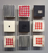 Black and White and Red Nine by Lori Katz (Ceramic Wall Sculpture)