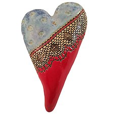 Blue Top Red Tip by Laurie Pollpeter Eskenazi (Ceramic Wall Sculpture)