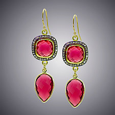 Red Quartz and Diamond Earrings by Judy Bliss (Silver & Stone Earrings)