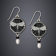 Night Moth Earrings by Dawn Estrin (Silver & Pearl Earrings)