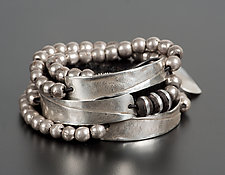 Round Bead & Rectangle Bracelet by John Siever (Silver Bracelet)