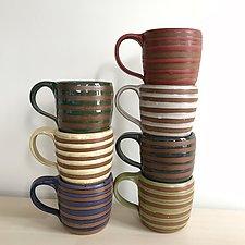 Stripe Mug by Louise Bilodeau (Ceramic Mug)