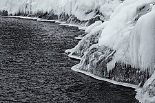 Icy Coastline - North Shore of Lake Superior by J.L. Rodman (Black & White Photograph)