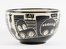 Large Giraffe in the City Bowl by Jennifer  Falter (Ceramic Bowl)