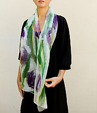 Mini Floral Organza Scarf in Purple and Green by Yuh Okano (Silk Scarf)