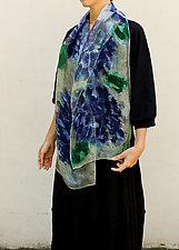 Mini Floral Organza Scarf in Hydrangea & Sage by Yuh Okano (Silk Scarf)