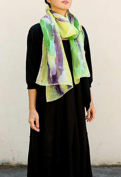 Floral Organza Scarf in Purple & Green