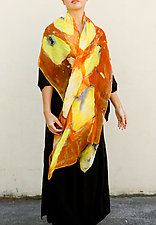 Floral Organza Scarf in Orange Pansy by Yuh  Okano (Silk Scarf)