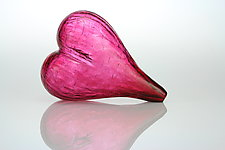Blown Glass Heart in Red by Tom Bloyd (Art Glass Sculpture)