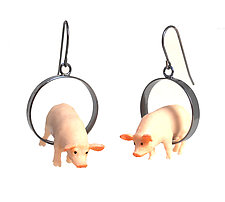 Pig Earrings by Kristin Lora (Silver Earrings)