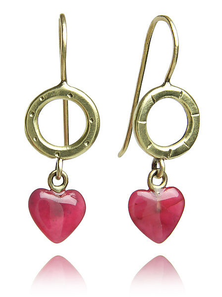 18k Gold and Heart Shaped Ruby Earrings