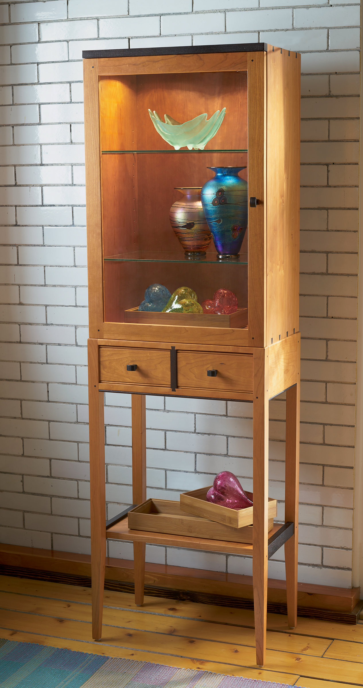 Tall Cherry Display Cabinet By Tom Dumke Wood Cabinet Artful Home
