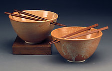 Mottled Orange Rice Bowls with Chopsticks by Daniel  Bennett (Ceramic Bowls)