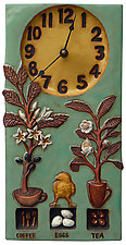 Coffee, Tea & Eggs Ceramic Wall Clock in Teal & Yellow Glaze by Beth Sherman (Ceramic Clock)