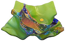 Peridot Moon Flare Bowl by Karen Ehart (Art Glass Bowl)