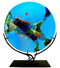 Turquoise Moon by Karen Ehart (Art Glass Sculpture)