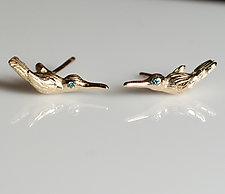 Gold Hummingbird Studs by Gillian Batcher (Gold & Stone Earrings)