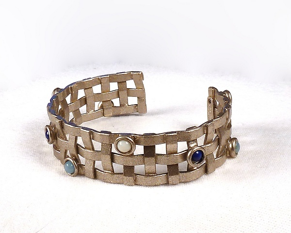 Narrow Metal-Weave Cuff with Stones