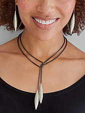 Blackened Lariat with Large Silver Drops by Claudia Endler (Silver Necklace)